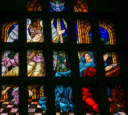 Stained glass window depicting The Annunciation in the Sanctuary of the Rock (Santuario da Penha) in Guimaraes, Portugal.
