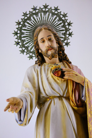 Statue of Jesus and the Sacred Heart in the Sanctuary of the Rock (Santuario da Penha) in Guimaraes, Portugal.  Editorial