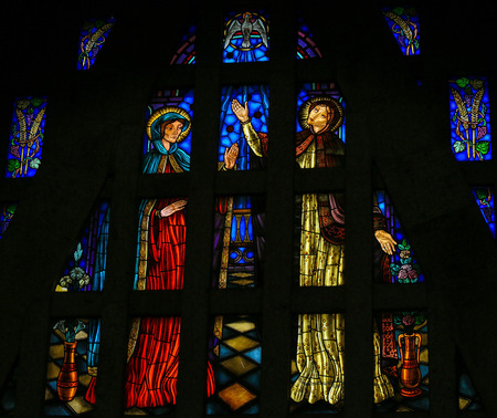 visitation: Stained glass window depicting The Visitation, Mother Mary meeting with her niece Elisabeth, in the Sanctuary of the Rock (Santuario da Penha) in Guimaraes, Portugal.