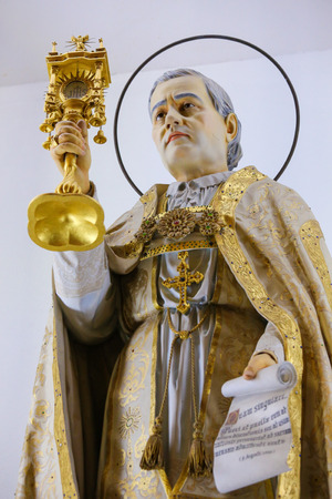 x mass: Statue of Pope Pius X in the Sanctuary of the Rock (Santuario da Penha) in Guimaraes, Portugal.