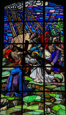Stained glass window depicting Jesus on the Via Dolorosa in the Santos Passos church in Guimaraes, Portugal.