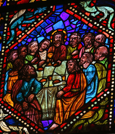 Stained glass window depicting Jesus and the apostles at the Last Supper in the cathedral of Leon, Castille and Leon, Spain.
