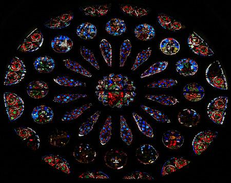 rose window: Vetrata raffigurante la bella Rosone della cattedrale di Leon, Castilla y Leon, in Spagna.