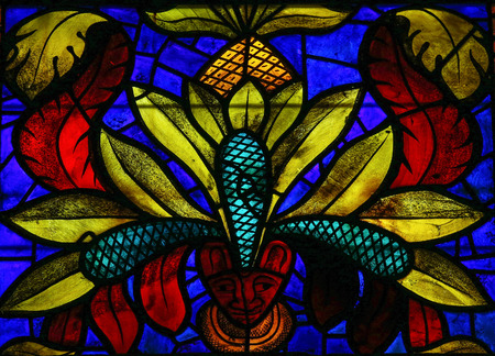 cara leon: Vitral en la catedral de Le�n, Castilla y Le�n, Espa�a.