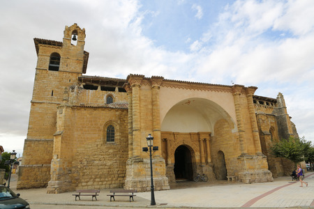 castille: FROMISTA, SPAIN - JULY 17, 2014: Church of San Pedro in Fromista, Castille and Leon, Spain, a famous stop on the Way of St James to Compostela.