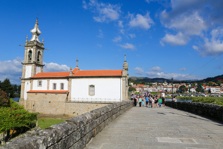 portugese: PONTE DE LIMA, PORTUGAL - AUGUST 3, 2014:  Famous chapel of Saint Michael in Ponte de Lima, a town in the Northern Minho region in Portugal.