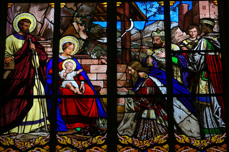 Stained glass window depicting the Epiphany, the Visit of the Three Kings in Bethlehem, in the Cathedral of Tours, France.