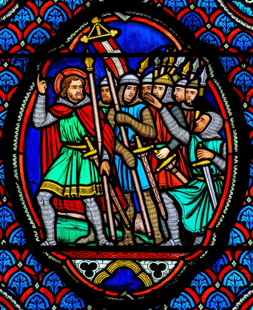 stained glass church: Stained glass window depicting Crusaders in the Cathedral of Tours, France.