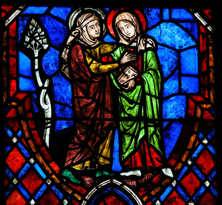 visitation: Stained glass window depicting the Visitation, the visit of the Blessed Virgin Mary to her niece Elisabeth in the Cathedral of Tours, France.