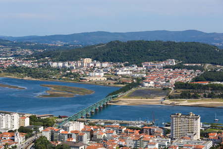 portugese: VIANA DO CASTELO, PORTUGAL - AUGUST 4, 2014:  Aerial view on the center of Viana do Castelo, a famous city in the Northern part of Portugal