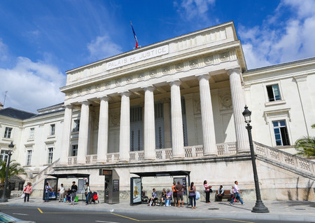 center court: TOURS, FRANCE - AUGUST 14, 2014: Justice court or Palais de Justice in the old center of Tours, France.