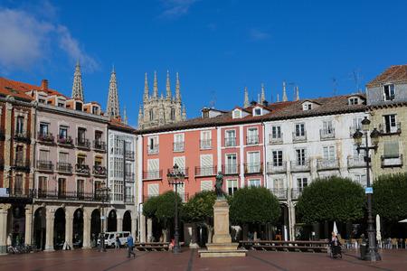 castille: BURGOS, SPAIN - AUGUST 13, 2014: Statue of King Carlos III on the Plaza Mayor, the main square of Burgos, Castille, Spain.