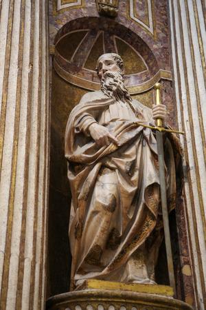 castille: BURGOS, SPAIN - AUGUST 13, 2014: Statue of Saint Paul in Burgos Cathedral, Castille, Spain.