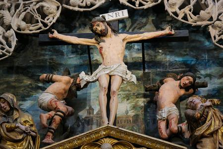 castille: BURGOS, SPAIN - AUGUST 13, 2014: Crucifixion Scene in Burgos Cathedral, Castille, Spain. Editorial