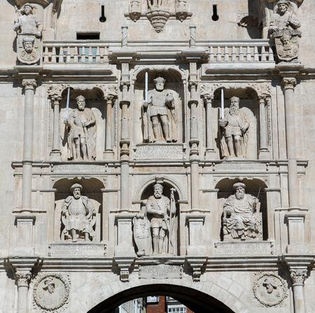 castille: BURGOS, SPAIN - AUGUST 13, 2014: Historic City Gate in the center of Burgos, Castille, Spain. Editorial
