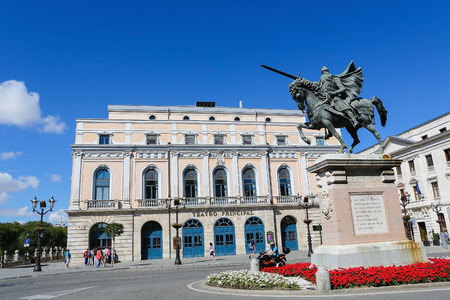 cid: BURGOS, SPAIN - AUGUST 13, 2014: Famous Equestrian Statue of El Cid in Burgos, Castille, Spain.