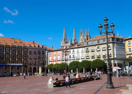 BURGOS, SPAIN - AUGUST 13, 2014: Plaza Mayor and famous gothic cathedral in Burgos, Castille, Spain.