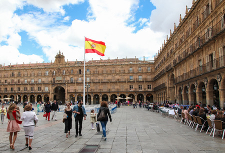 SALAMANCA, SPAIN - MAY 31, 2014: City Hall at the Plaza Mayor in Salamanca, Castile and Leon, Spain.