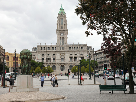 PORTO, PORTUGAL - JUNE 4, 2014: Porto City Hall at the Avenida dos Aliados in the center of Porto, Portugal.