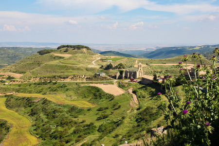 northern spain: Panorama on the town and 12th Century fortified church of Santa Maria in Ujue, (Uxue in Basque), a town in Navarre, Northern Spain. Editorial