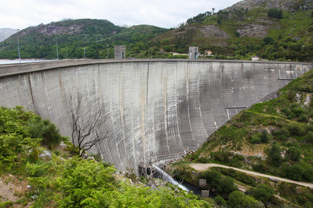 hydropower: Hydropower dam in Peneda Geres, the only national park in Portugal, located in the Norte region.