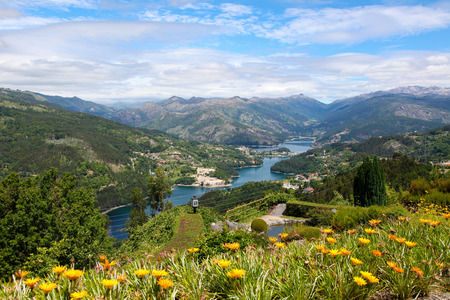 porto: View on the Lima river meandering through Peneda Geres, the only national park in Portugal, located in the Norte region. Stock Photo