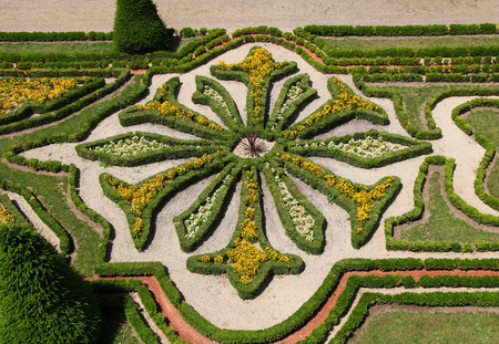anjou: Detail of hedges in the interior gardens of the castle of Angers, once capital of Anjou, in Marne-et-Loire, France.