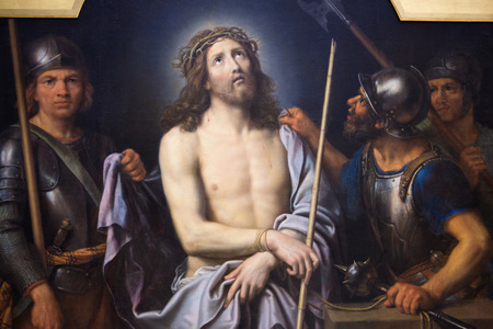 finished good: ROUEN, FRANCE - FEBRUARY 10, 2013: Painting depicting Jesus on Good Friday, in the Museum of Rouen, France. This painting was created by Pierre Mignard and finished in 1690, no property release is required.