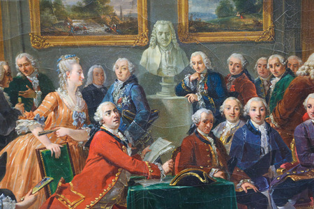 ROUEN, FRANCE - FEBRUARY 10, 2013: Painting depicting the reading of the tragedy lOrphelin de la China by Voltaire in the salon of Madame Geoffrin in 1775. This painting, located in the Museum of Rouen, was created by Gabriel Lemonnier in 1814, no proper Sajtókép