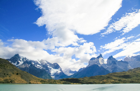 torres del paine: Lake Pehoe and Los Cuernos in Torres del Paine National Park in Patagonia, Chile