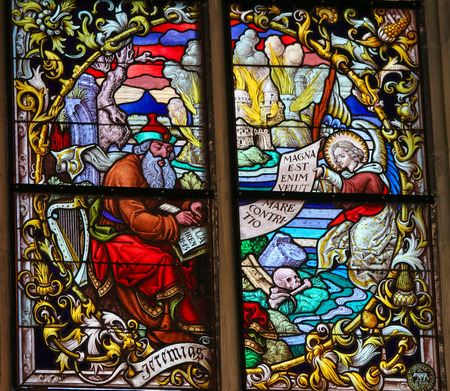 MECHELEN, BELGIUM - JANUARY 31, 2015: Stained Glass window depicting the Prophet Jeremiah in the Cathedral of Saint Rumbold in Mechelen, Belgium.
