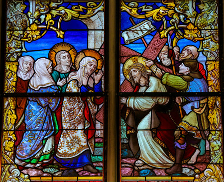 via dolorosa: MECHELEN, BELGIUM - JANUARY 31, 2015: Stained Glass window depicting Jesus and Mary on the Via Dolorosa, in the Cathedral of Saint Rumboldt in Mechelen, Belgium. Editorial