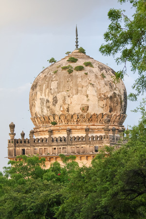 The tombs of the seven Qutub Shahi rulers in the Ibrahim Bagh (garden precinct) close to the famous Golkonda fort in Hyderabad, India photo