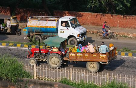 uttar pradesh: AGRA, INDIA - SEPTEMBER 21, 2008: Traffic on a local street in Agra, Uttar Pradesh, India.