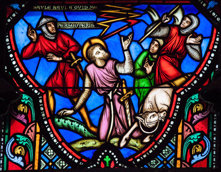 BRUSSELS, BELGIUM - JULY 26, 2012: Stained Glass window depicting Saul (Paulus) falling of his horse at the road near Damascus, in the Cathedral of Brussels, Belgium.