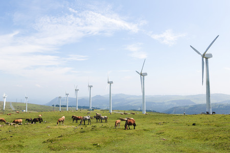 Onshore wind turbine farm in the Northern part of Galicia, Spain. Stock fotó