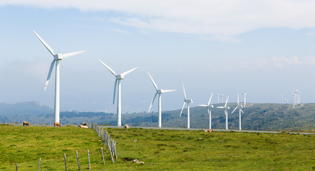 cattle grid: Onshore wind turbine farm in the Northern part of Galicia, Spain. Stock Photo