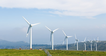cleantech: Onshore wind turbine farm in the Northern part of Galicia, Spain. Stock Photo