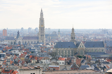 paulus: Aerial view on the Cathedral of Our Lady  and the Church of Saint Paul in Antwerp, Belgium.