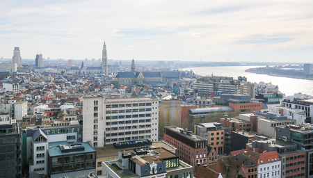 paulus: Aerial view on the center of Antwerp, second largest city of Belgium, with the Cathedral of Our Lady and the Church of Saint Paul close to the river Scheldt. Stock Photo