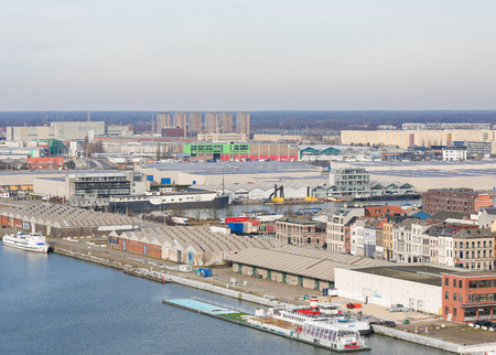 multimodal: ANTWERP, BELGIUM - MARCH 7, 2015: View on warehouses by the River Scheldt in the port of Antwerp, Belgium. Editorial