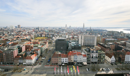paulus: ANTWERP, BELGIUM - MARCH 7, 2015: Panorama on the center of Antwerp, second largest city of Belgium, with the Cathedral of Our Lady and the Church of Saint Paul close to the river Scheldt. Editorial