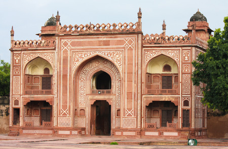 jewel box: Entrance of the Tomb of I timad ud Daulah in Agra, Uttar Pradesh, India, a Mughal mausoleum often described as the Baby Taj or jewel box. Stock Photo