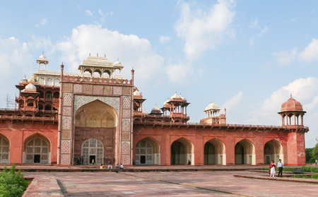 mughal: Tomb of Akbar the Great in Agra, Uttar Pradesh, India, an important Mughal masterpiece built in the early 17th Century.
