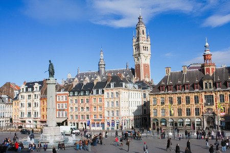 LILLE, FRANCE - NOVEMBER 2, 2009: Chambre of Commerce and Statue and Column of Deesse (1845) at the Place General de Gaulle in Lille, France.