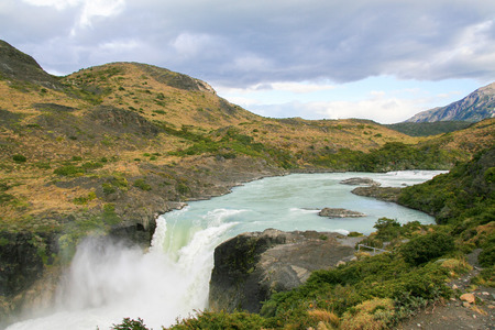 Waterfall in Torres del Paine National Park in Patagonia, Chile.