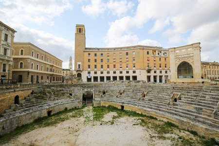 2nd century: LECCE, ITALY - MARCH 13, 2015: Roman Amphiteatre (2nd Century) at the Sant Oronzo square in Lecce, Apulia, Italy