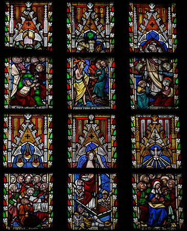 Stained glass window depicting Scenes in the Life of Jesus Christ in the Cathedral of Saint Truiden in Limburg, Belgium.