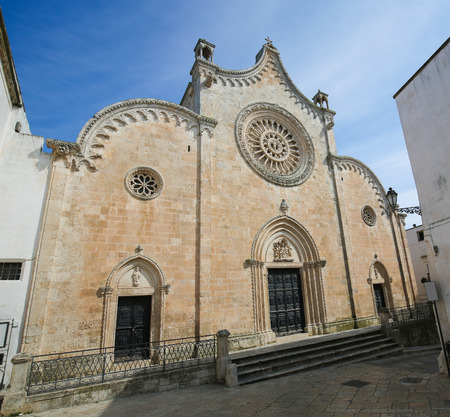 south italy: Cathedral of the medieval town Ostuni in Puglia, South Italy. Stock Photo