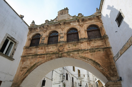 south italy: Arch in the medieval town Ostuni in Puglia, South Italy. Editorial
